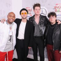 NEW YORK, NY - DECEMBER 07:  (L-R) Maxwell, Jordan Greenwald, Mitchy Collins and Sam Price attend Z100's Jingle Ball 2018 at Madison Square Garden on December 7, 2018 in New York City.  (Photo by Brad Barket/Getty Images for iHeartMedia)